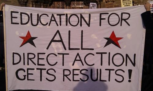 Anarchist banner on demonstration